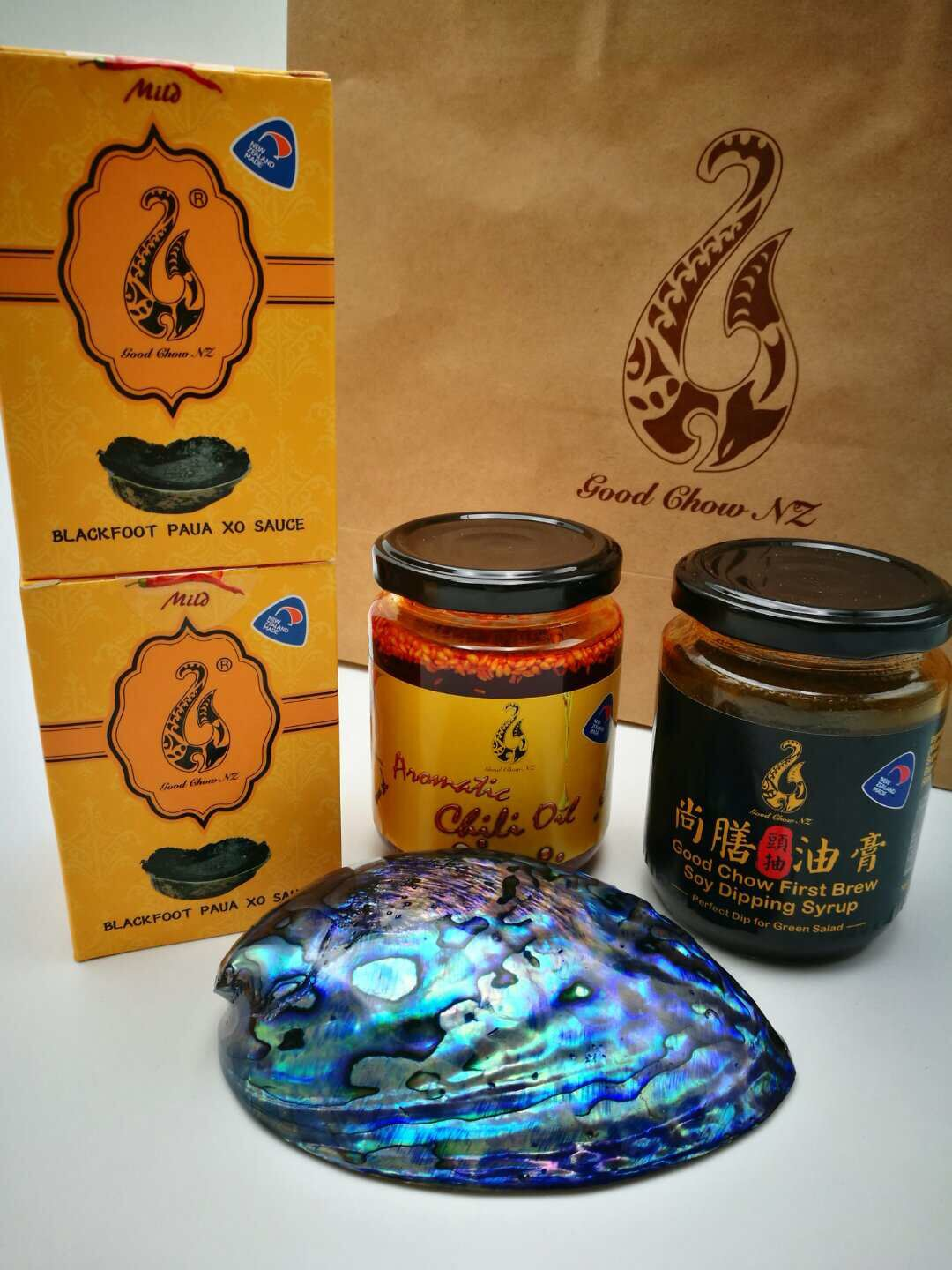 Paua Xo Sauce100ml*2,Aromatic Chilli Oil*1,Soy Dipping Syrup*1, Paua Shell