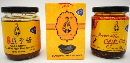 Wild NZ Fish Roe Sauce, Paua XO Sauce and Aromatic Chilli Oil